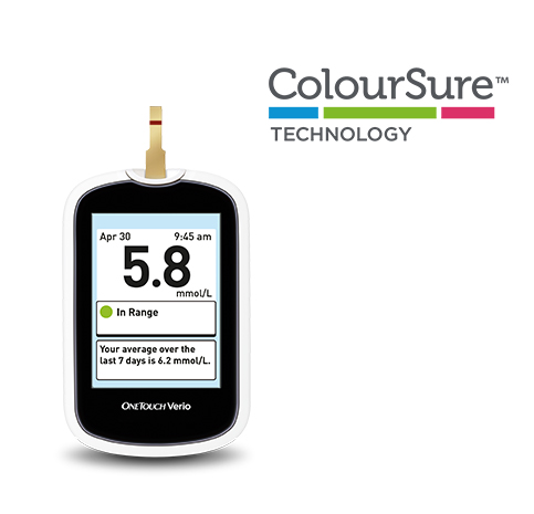 OneTouch Verio Blood Glucose Meter showing blood glucose in range