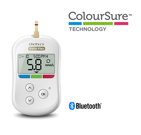 OneTouch Verio Flex Blood Glucose Meter showing blood glucose in range