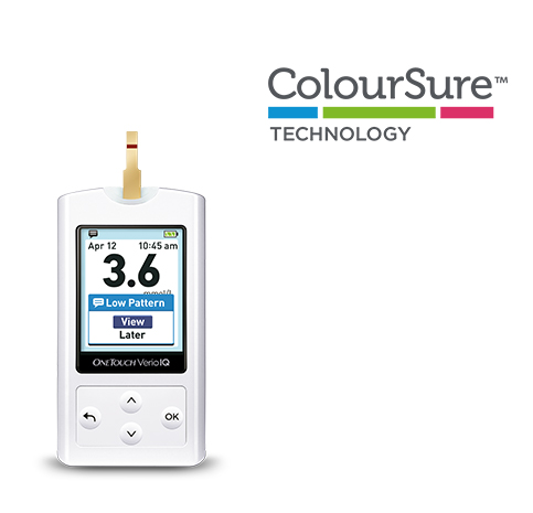 OneTouch Verio IQ Glucose Meter indicating low blood glucose pattern